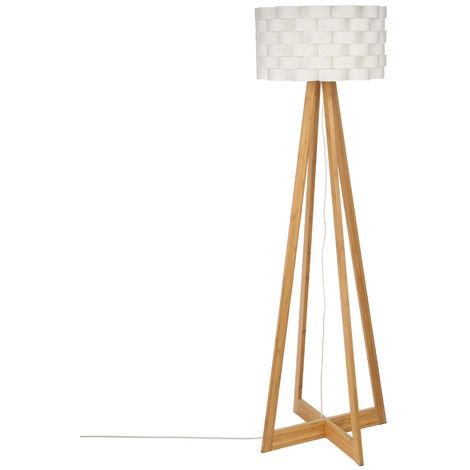 Lampadaire pied en Bambou abat jour tressé 150 cm