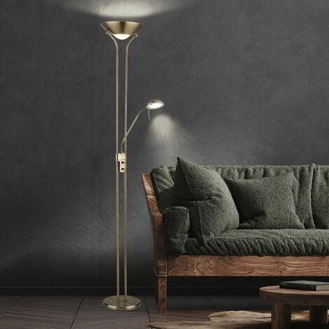 Lampadaire plafond washlight LED dimmable avec liseuse Lampadaires LED avec variateur, spot de lecture flexible laiton antique, 2x LED 16 W 1440 lm, blanc chaud, H 180 cm