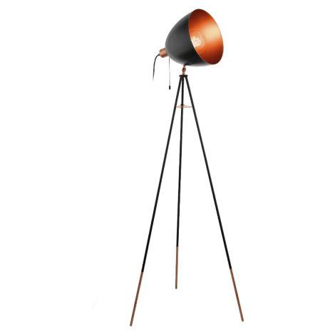 lampadaire rétro chester h135,5 cm - noir - noir - eglo-49386