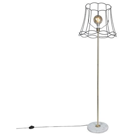 Lampadaire Retro en laiton avec cadre Granny noir 45 cm - Kaso Qazqa Retro Cage Lampe Luminaire interieur Rond