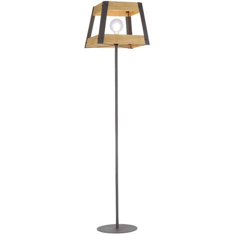 Lampadaire rétro salon salle à manger plafonnier en bois lampe sur pied noir LeuchtenDirekt 15723 -79