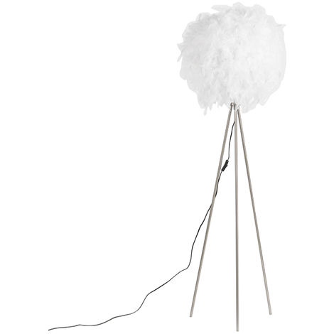 Lampadaire romantique blanc - Plume Qazqa Moderne Luminaire interieur Rond