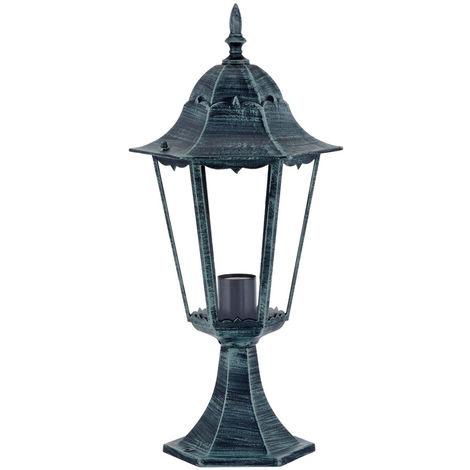 Lampadaire rustique luminaire sur pied éclairage espace extérieur aluminium vert-noir IP44