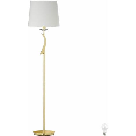 Lampadaire salon chambre coucher lampe à vasque textile éclairage laiton couloir dans l'ensemble LED