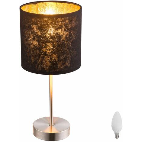 Lampadaire salon Luminaire de lecture éclairage chambre or noir d'amis textile dans l'ensemble LED