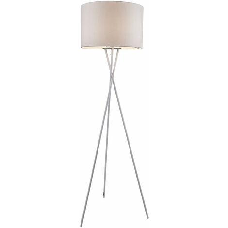 Lampadaire salon textile tripode blanc Lampadaire laveur de plafond avec télécommande, dimmable avec changement de couleur, 1x RGB LED 9W 806lm 3000K, DxH 54x160 cm