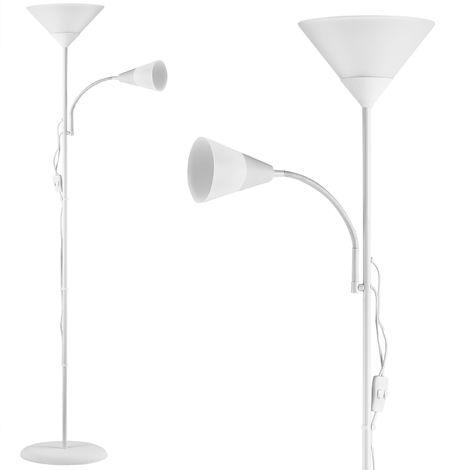 """Lampadaire sur pied avec liseuse """"Alissa"""" Lampe orientable 175 cm - Blanc"""