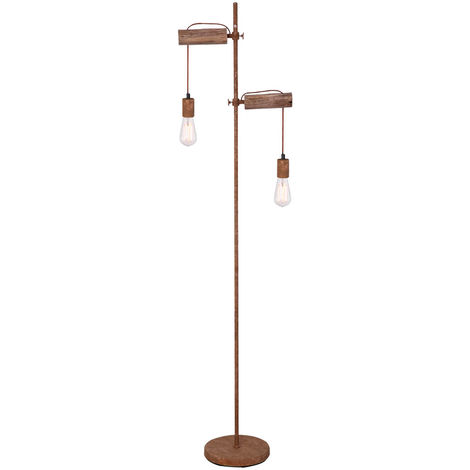 Lampadaire sur pied réglable en hauteur, lampe de commande à distance en bois, commande à la rouille, avec ampoules LED RGB