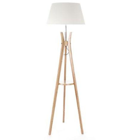 Lampadaire table en Bambou/ Lin - Dim : H 156 x D 46 cm
