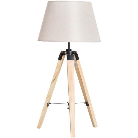 Lampadaire trépied 35L x 35l x 68H cm lampe de sol 40 W bois style nordique beige