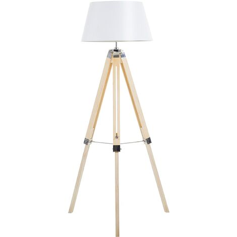 Lampadaire trépied blanc et bois clair