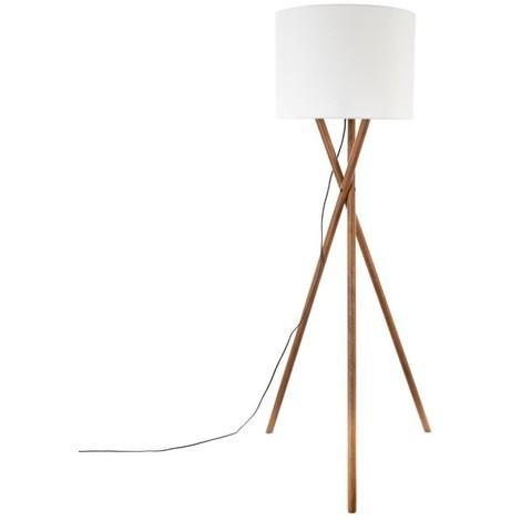 Lampadaire trépied bois Natt H 162 cm Atmosphera - Blanc