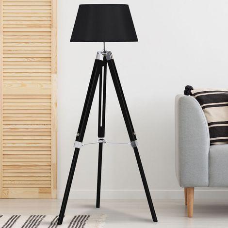 Lampadaire trépied bois réglable noir