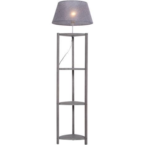 Lampadaire trépied design scandinave dim. 46L x 46l x 159H cm 40 W max. 4 étagères intégrées bois massif pin abat-jour toile lin gris