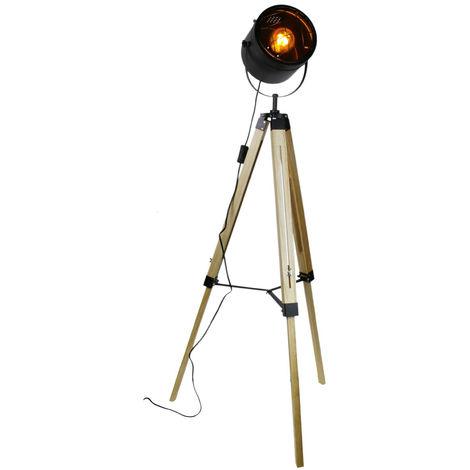 Lampadaire trepied en bois coloris noir et beige - Dim : 68 x 58 x 135 cm -PEGANE-