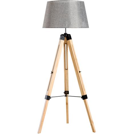Lampadaire trépied hauteur réglable 65 x 65 x 99-143 cm lampe de sol 40 W bois style nordique gris