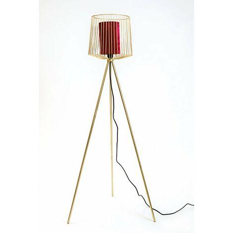 Lampadaire trépied métal abat jour velours H133 rouge - Rouge