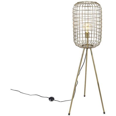 Lampadaire trépied Moderne en laiton - Barir Qazqa Moderne Luminaire interieur