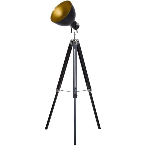 Lampadaire trépied style industriel hauteur réglable abat-jour ajustable E27 40W max. 65 x 65 x 108-152 cm bois métal noir et doré