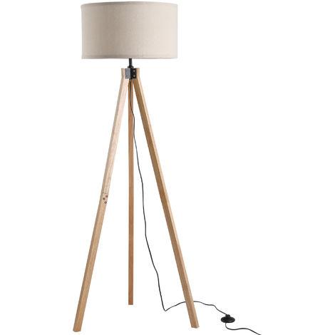 Lampadaire trépied style scandinave 40 W max. dim. 45L x 45l x 152H cm bois de pin lin beige