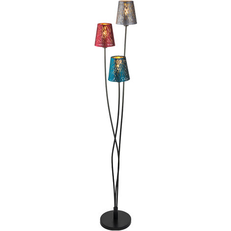Lampadaire velours décor multicolore poinçons Eclairage de chambre à coucher Lampe sur pied Globo 15266-3S