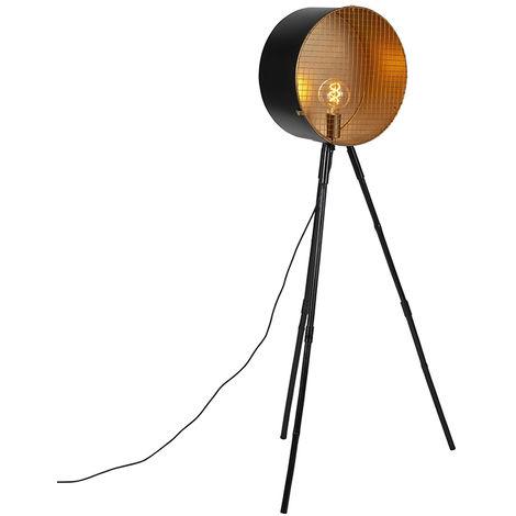 Lampadaire vintage sur trépied en bambou noir avec or - Canon Qazqa Retro Luminaire interieur Rond