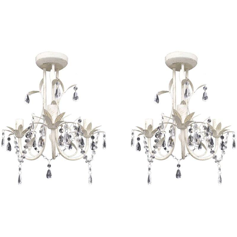 vidaXL Lampadari con Pendenti in Cristallo 2 pz Bianco Elegante - Blanco