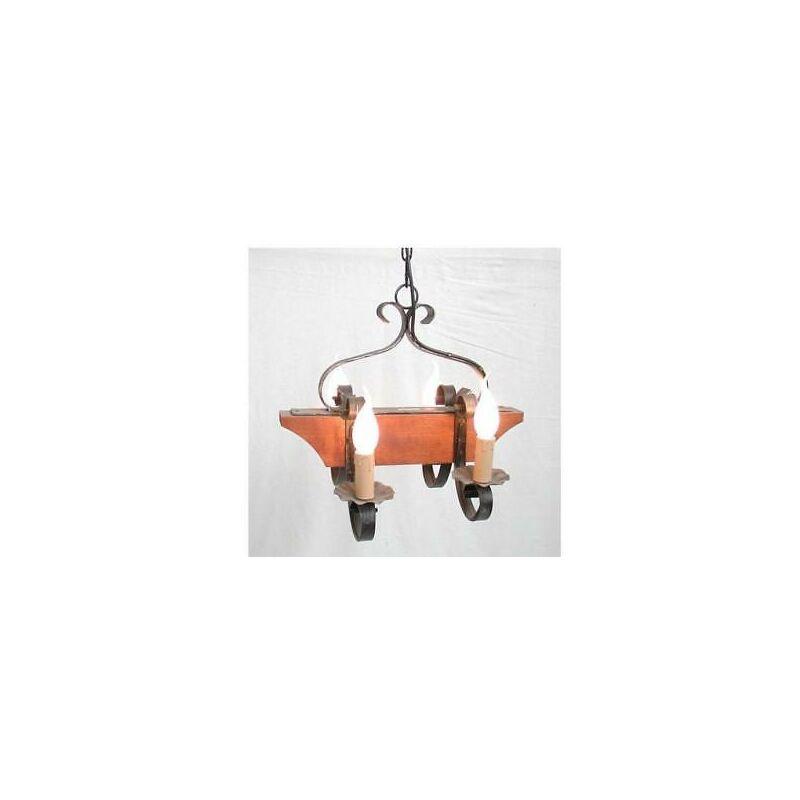 Lampadario 4 luci wood tronchetto lampade lampione applique plafoniera cm40