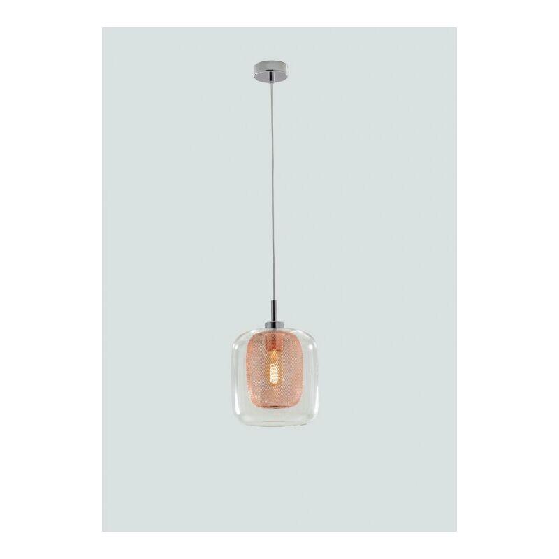 Lampadario con paralume trasparente e arancio 60 watt E27