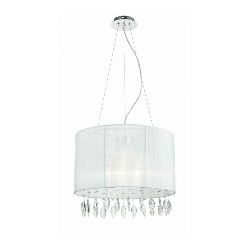Lampadario a sospensione con paralume bianco dalla forma semplice e cristalli 60 watt E27 - SHOP-DAY