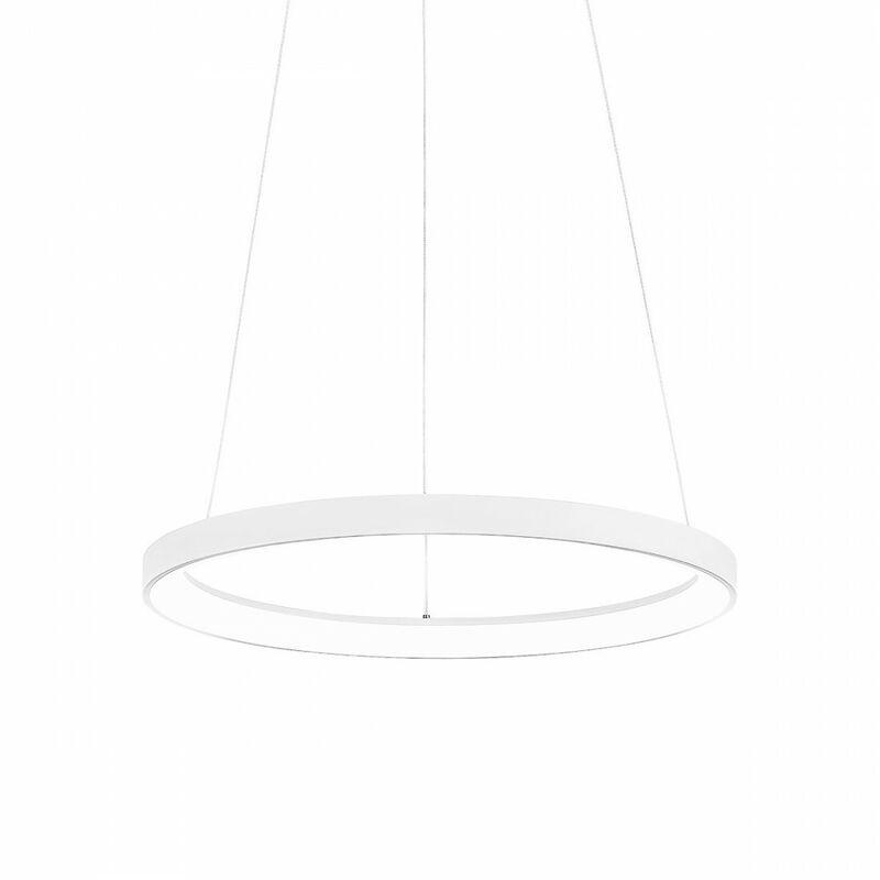 Lampadario anello gea luce krizia sm b 50w led 2900lm 3000°k dimmerabile alluminio bianco moderno interno