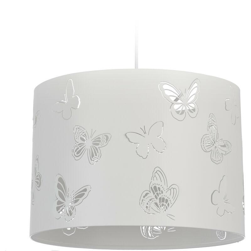 Lampadario Bianco, Paralume Rotondo con Farfalle, 1 Luce, Metallo, Attacco E27, da Soffitto, D 35,5 cm, bianco
