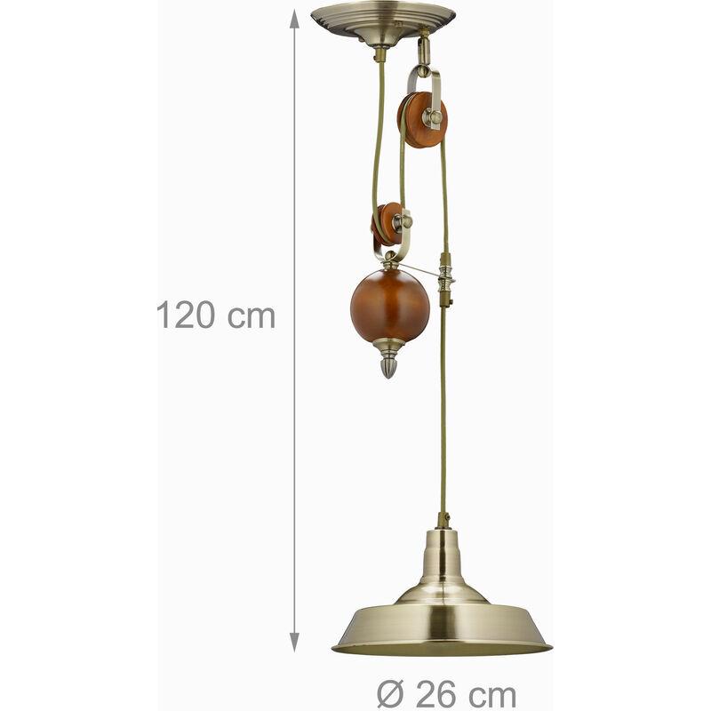 Relaxdays Lampadario da Soffitto a Carrucola con 1 Punto Luce metallo
