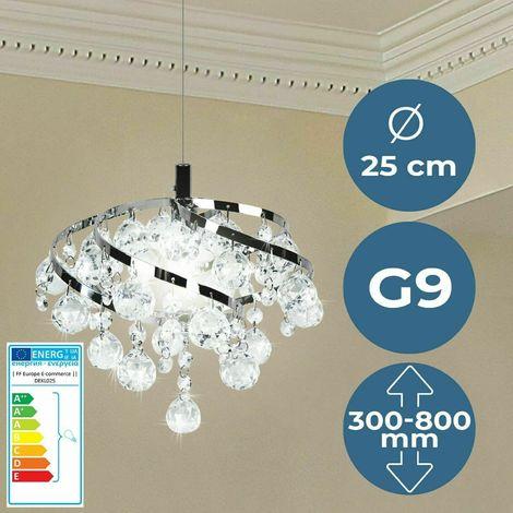 Design Moderno ed Elegante Lampadario da Soffitto con 5 punti luce rotondi e pendente in Vetro e Cristallo