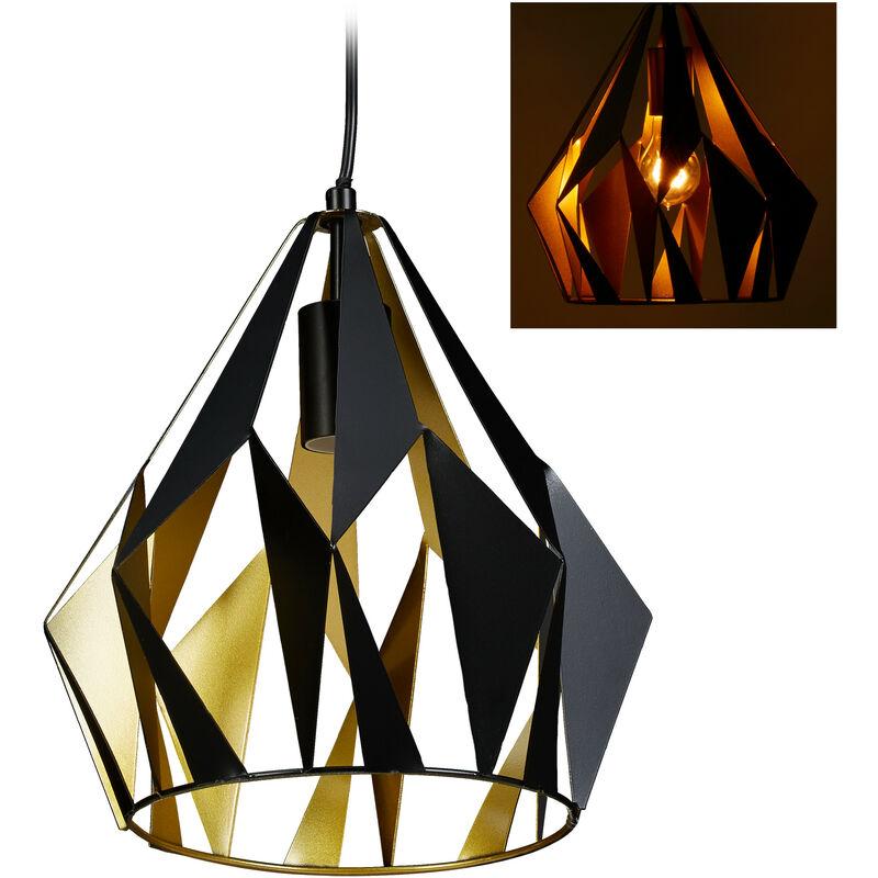 Lampadario da Soffitto, Design Retrò, Metallo, Paralume a Diamante, Lampada a Sospensione, E27 140x27 cm, nero