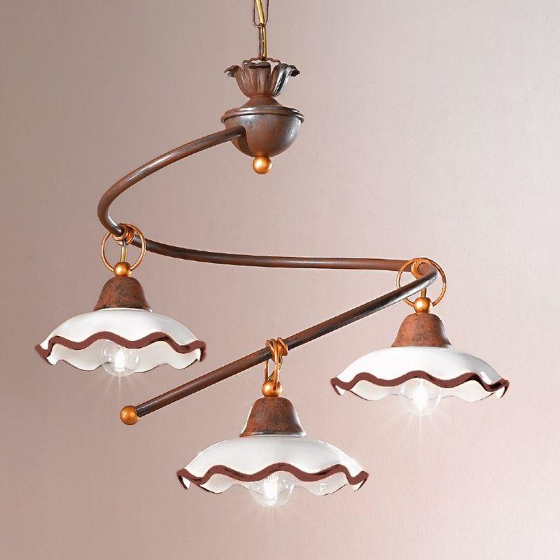 Lampadario classico due p illuminazione chiara s3 e27 led ceramica sospensione