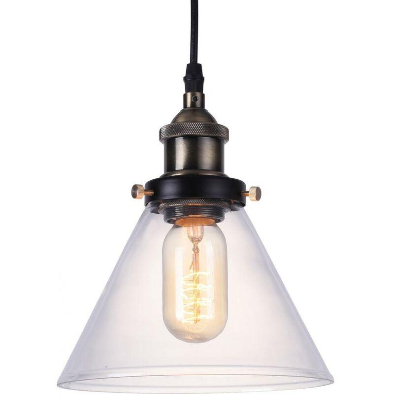 Lampadario Edison con paralume piccolo di cristallo - Acciaio di carbonio Bronzo - PRIVATEFLOOR