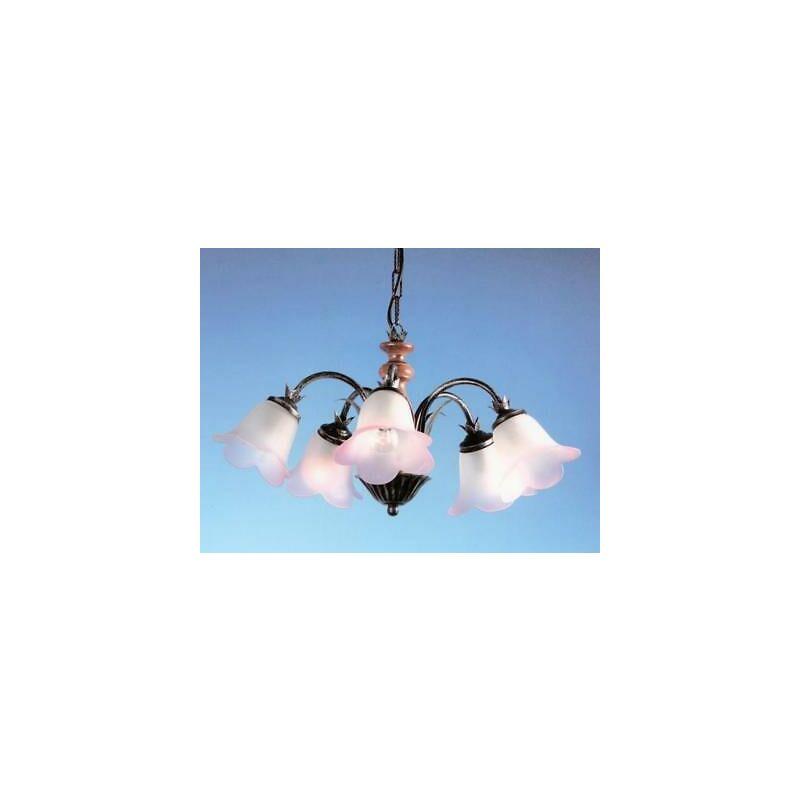 Cruccolini - Lampadario fascino a 5 luci ferro battuto lanterna applique lampione lampade