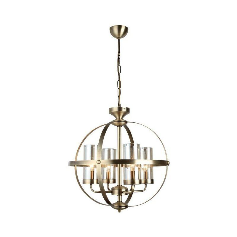 Homemania - Lampadario Fermo - Lampada a Sospensione - da Soffitto - Rame Metallo, Vetro, 49 x 49 x 90 cm, 4 x E14, 40 W