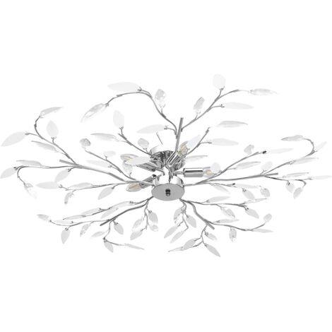Lampadario Foglie e Bracci in Cristallo Acrilico 5 E14 Bianco