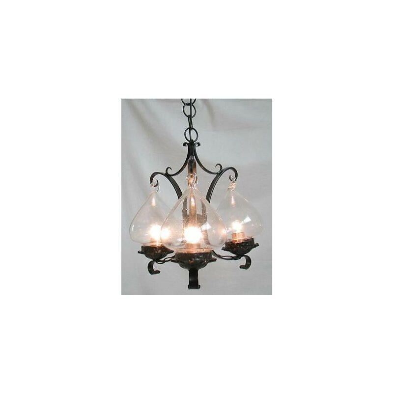 Cruccolini - Lampadario gancio a 3 luci in ferro battuto lampade lampione applique lanterna