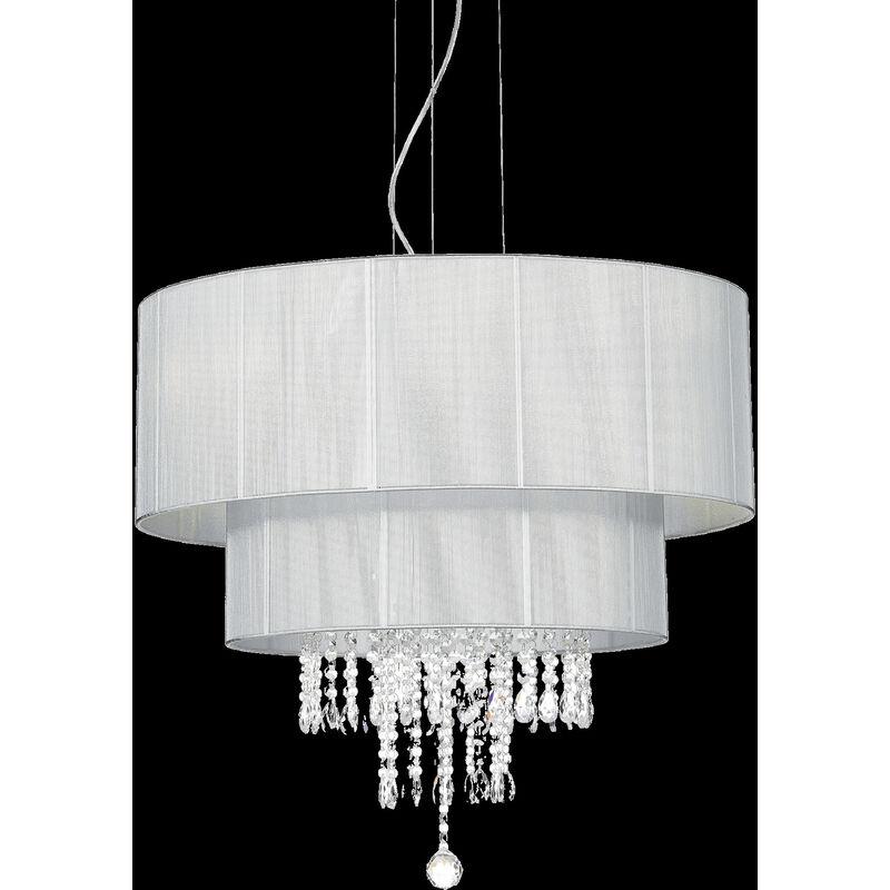 Ideal Lux - Lampada a sopensione opera a 6 luci con paralume rivestito da fili di cotone e pendagli in cristallo molato, colore argento