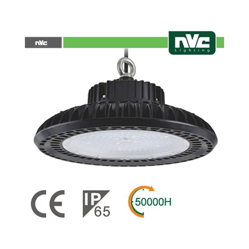 lampadario campana industriale led 150 watt 220-240 volt 90° A+ CE IP65 bianco naturale nero si lif nv320d150w40k90 - NVC