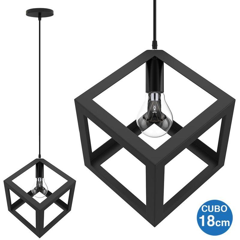 Bakaji - Lampadario Lampada Sospensione Cubo 18cm Design Moderno Paralume Metallo Nero