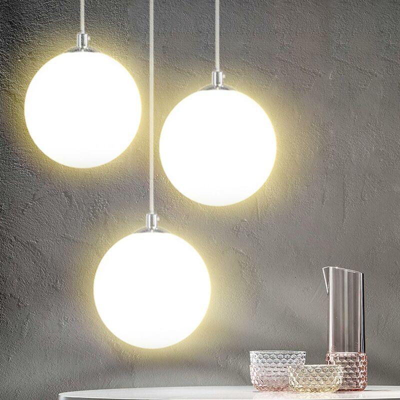 Lampadario Lampada Sospensione Sfera 20cm Design Moderno Paralume Vetro E27