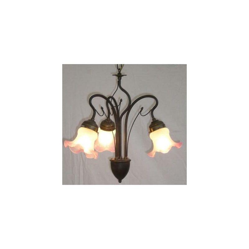 Cruccolini - Lampadario lanterna applique oliva 3 luci diametro cm45 h60 ottone bronzato