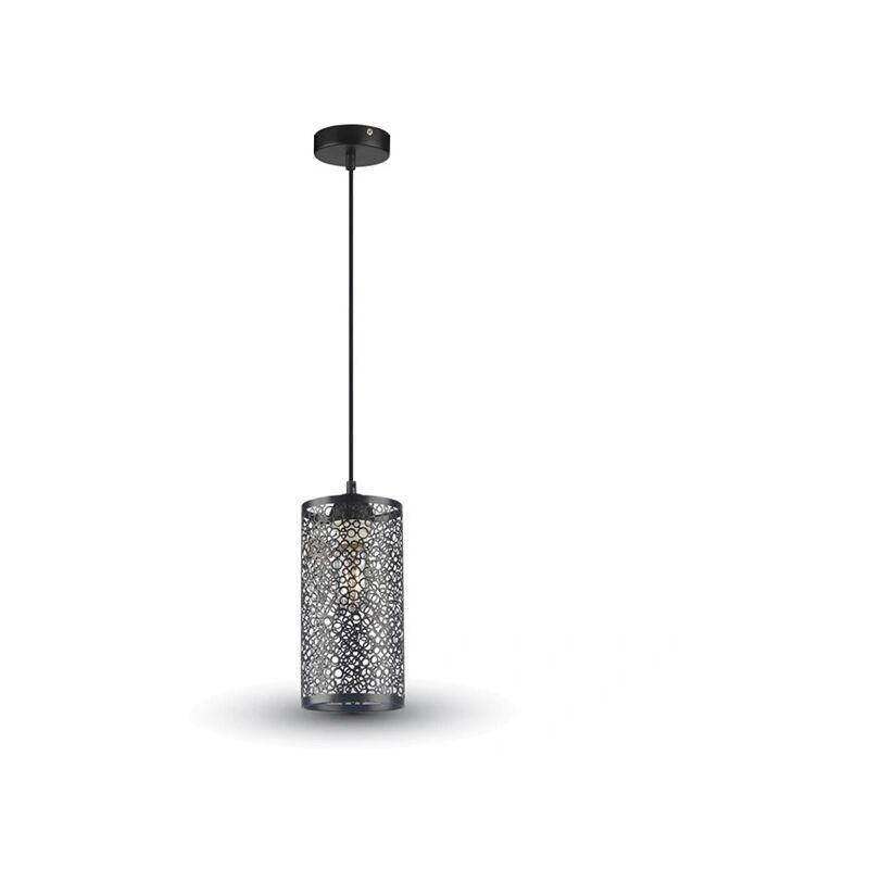 V-tac - portalampada pendente traforato 130 mm 220-240 volt CE E27 interno nero tec 616607