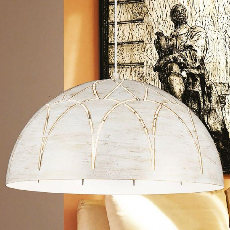 Lampadario lm-4538 s50 e27 led metallo bianco savana sospensione cupola classica interno
