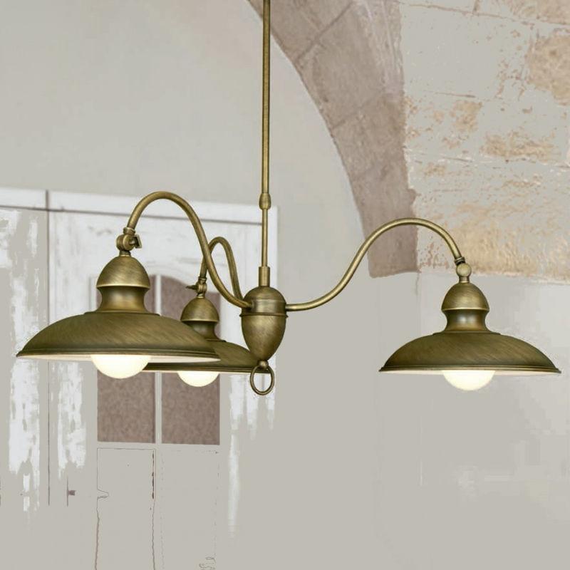 Lampadario lm-6975 3b e27 led classica rustica metallo brunito piatti orientabili sospensione interni