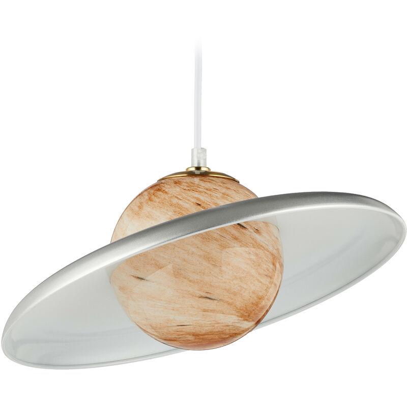 Lampadario, Pianeta Saturno, Sfera Luminosa in Effetto Marmo, Ferro, G9, 40W, HxD: 121 x 35 cm, Oro/Argento